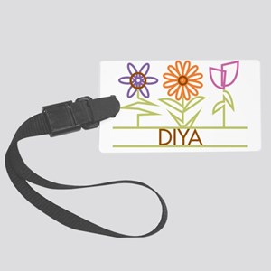DIYA-cute-flowers Large Luggage Tag